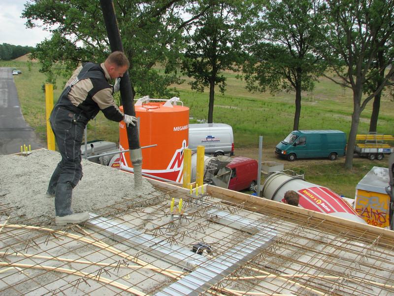 Pouring concrete of the attic floor