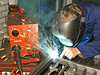 Martien v. d. Ven is finishing the welding of the gate