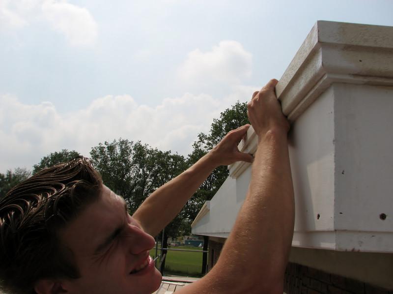 Jarno checking the mitre angle 45