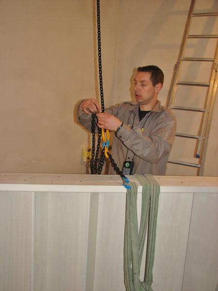 Marc hoisting the stair