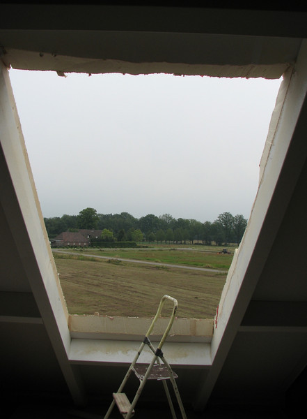 A hole in the roof, view from the dormer