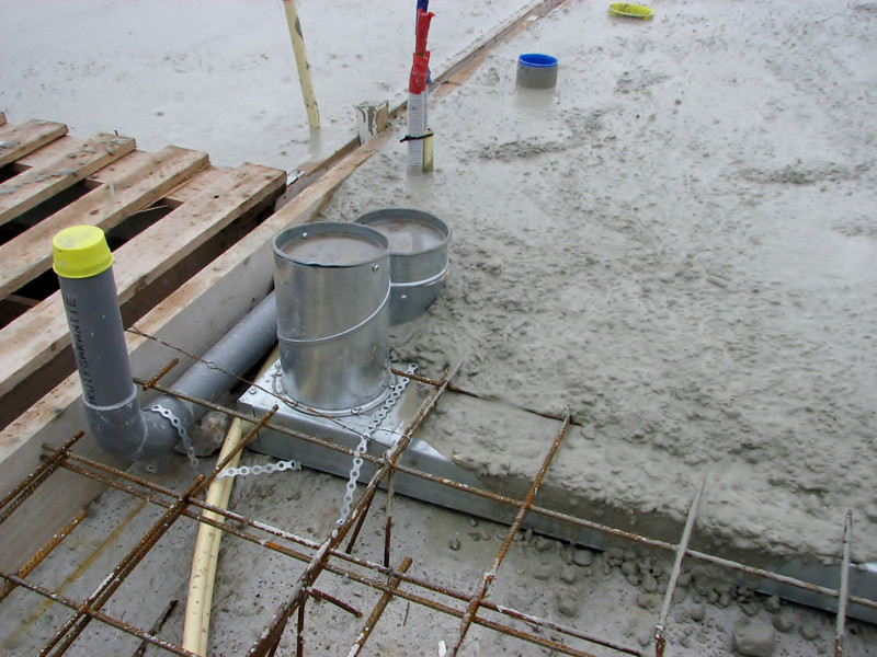 Pouring concrete of the attic floor