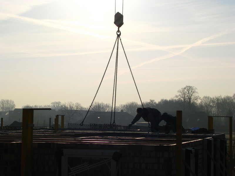 Starting in the early morning with laying concrete first floor bottoms