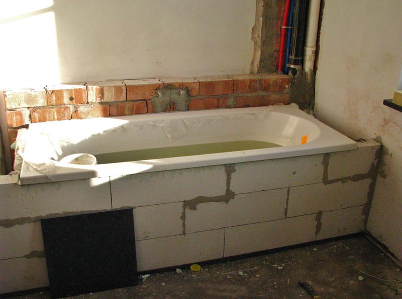 Bricklaying the bath