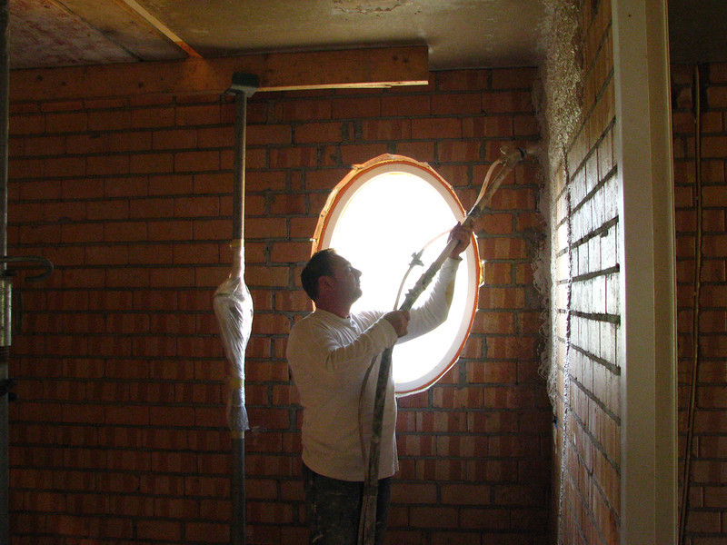 Coen spurting plaster, Plastering of the walls