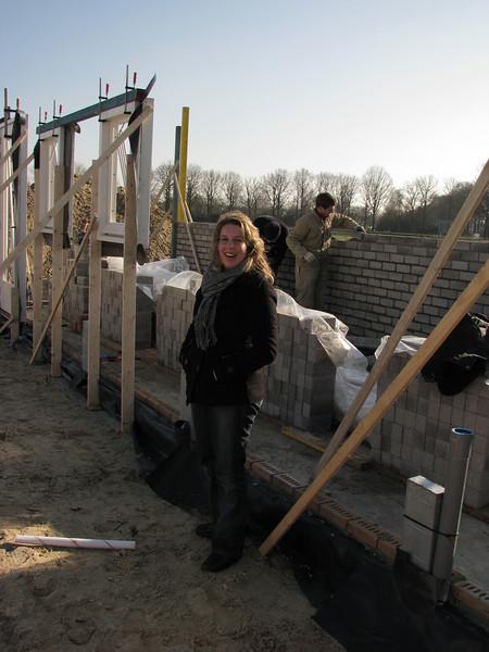 Saskia visiting the building site (garage)