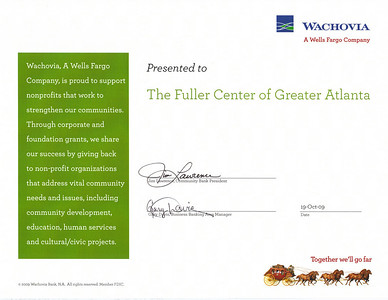 09 10-21 Wachovia Grant of $1,000 to Fuller Center of Greater Atlanta.