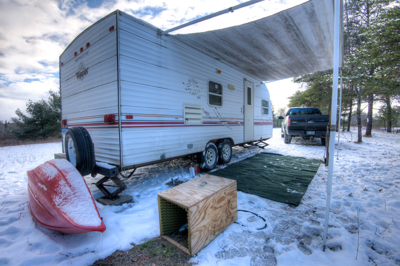 My campsite, November 2014, East Branch of the Black River, northern Montmorency County, Michigan.