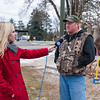 Jessica Starbard, WBKB, Alpena, Michigan, interviews the winner of the Largest Rack at the Atlanta, Michigan Buck Pole, November 15, 2014