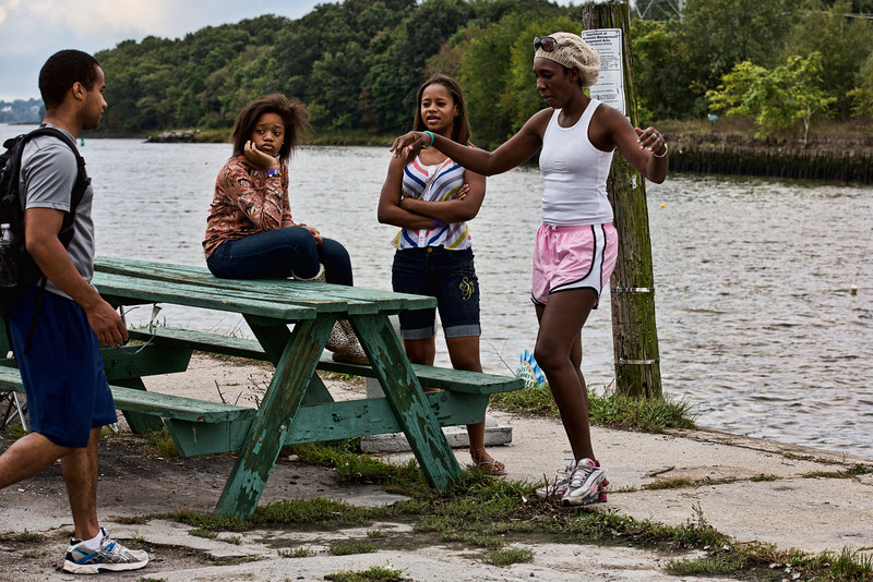 <center>Team CCRI Relaxing Before the Races  <br>Pawtucket Arts Festival<br>Pawtucket, Rhode Island</center>