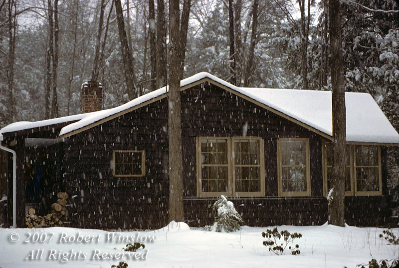 Snowstorm, Log Cabin, West Granby, Connecticut, USA, North America