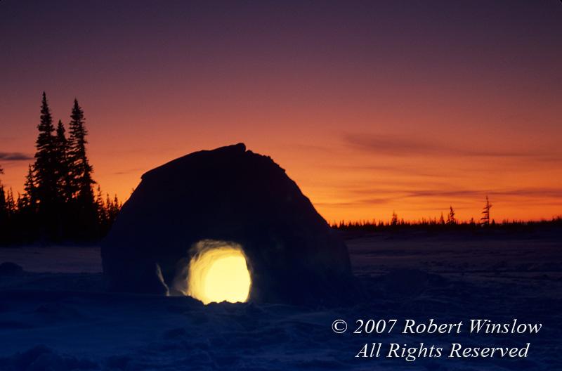 Igloo at Twilight, Winter, Manitoba, Canada, North America