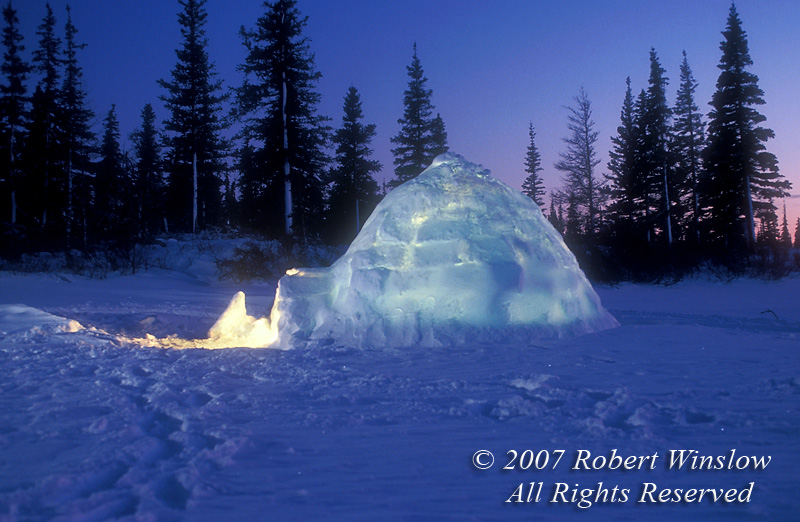 Igloo at Twilight, Winter, Manitoba, Canada, North America