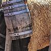 Wooden Barrel and Sheepskin Hide, El Rancho de la Golondrinas, Los Pinos Road, Santa Fe, New Mexico
