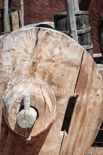 Solid Wooden Wagon Wheel on Carreta, El Rancho de la Golondrinas, Los Pinos Road, Santa Fe, New Mexico