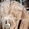 Solid Wooden Wagon Wheel on Carreta, El Rancho de la Golondrinas, Los Pinos Road, Santa Fe, New Mexico