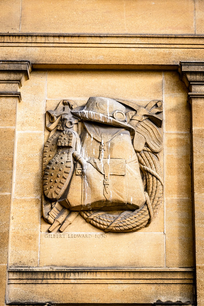 Mountaineering, one of Gilbert Ledward relief depicting outdoor interests, Eltham Palace, London, England