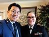 Kevin Lee with ENS Jennifer Edwards, US Navy, who volunteered to accompany William Klasing's casket from Omaha, Nebraska to its final resting place in Trenton, Illinois.