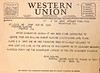 Western Union telegram, dated February 16, 1942, notifying Theodore Klasing, that his son, William August Classing, is officially declared to have lost his life in the service of his country as of December 7, 1941.