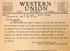 Western Union telegram, dated December 20, 1941, notifying Theodore Klasing, that his son, William Theodore Klasing, is missing in action.