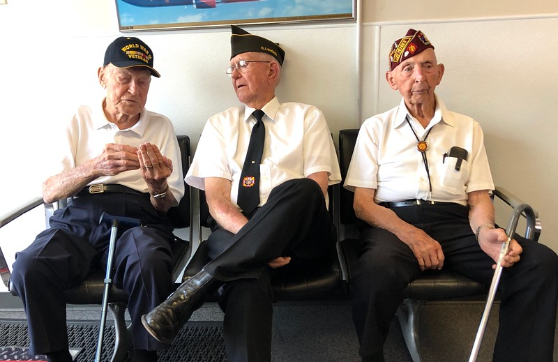 WWII veterans await the arrival of William Klasing's remains.