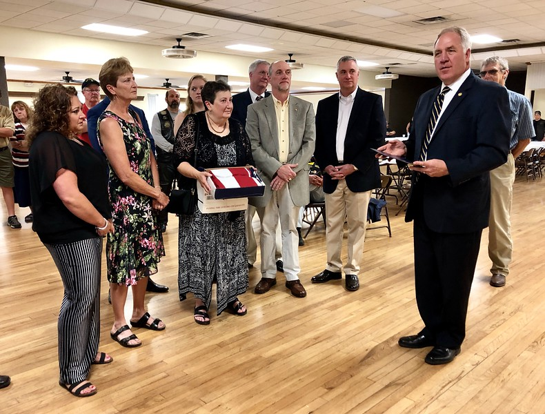 Congressman John Shimkus (R-IL 15th District) addresses William Klasing's relatives and audience at the American Legion, Breese, Illinois.