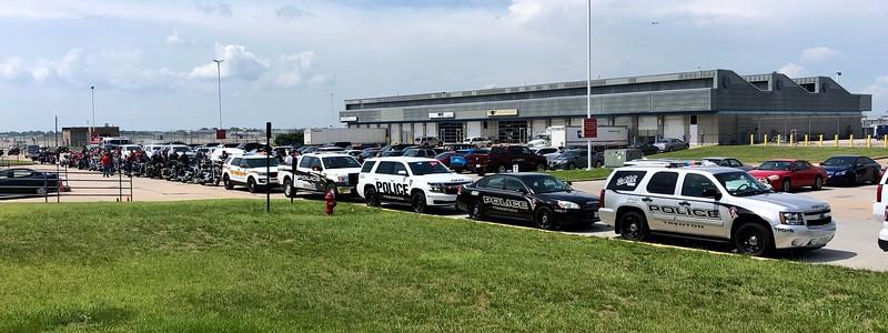 Motorcade arrives at Lambert Airport, St. Louis, Missouri.