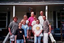 2008 06-07 - Spartanburg, SC - Homeowners Nancy Miller (pink blouse) with Baptist Collegiate ministries of Spartanburg. sm