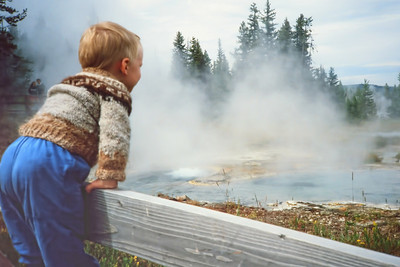 Yellowstone 1986 2010-09-11  I recently uncovered a cache of old slides and had them digitized - and have started a family gallery of embarassing baby shots to send to our sons.  (or maybe better to their wives).  Here is Edward, thrilled by the steam and colors - his first study in college was geology.