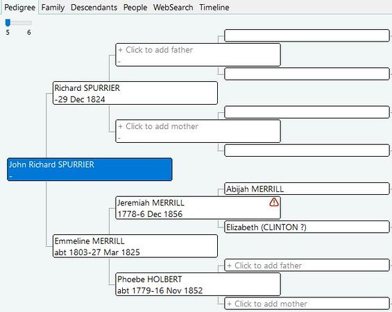 Emmeline Merrill (tree - married to Richard Spurrier, son John Richard Spurrier)