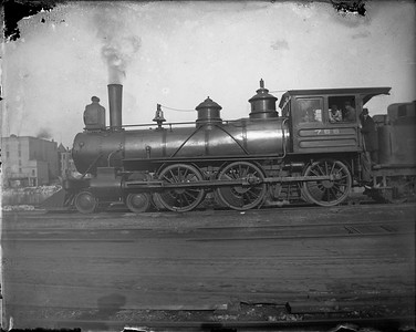 2010.002.GP.01--fred dahlinger collection 4x5 glass plate--CM&StP 4-6-0 765 detail--location unknown--c1895 0000. Built 1888 by Grant, renumbered to 140 in 1899, 2148 in 1912, scrapped 11/1928.
