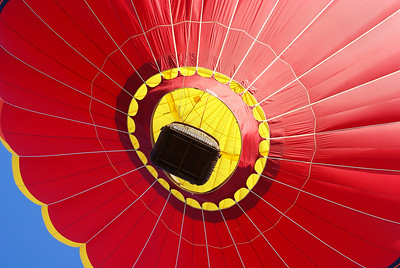 Red hot air balloon from below