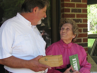 Steve Gibbons of Tallahassee, FL presents Greater Blessings Box to Ms. Mallory. bb