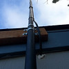 Home brew mast for the Plumbers Delight J Pole for the IRLP node.  ABS pipe with oak dowel inside.  All painted black.