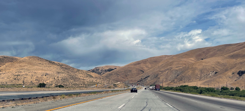 """Heading to Road's End, Kings Canyon, via the Tejon Pass, aka """"The Grapevine"""", the highest elevation of Interstate 5, which goes from Mexico to Canada for 1,381 miles.  The highway was constructed in 1964."""
