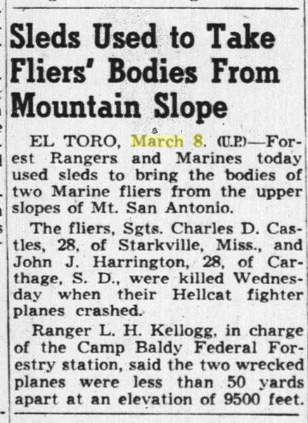 """Hellcat fighter pilots, Sgt. Charles D. Castles and Sgt. John J. Harrington, retrieved from Mt. Baldy, aka Mt. San Antonio.<br /> """"LA Evening Citizen News"""", Volume 44, Number 293, 8 March 1949.<br /> Thanks to  Eric Geisert, who researched and found this article."""