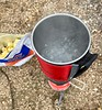 Boiling water in 2.5 minutes, to hydrate lunch.<br /> Potato Mountain<br /> April 22, 2021