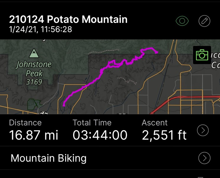 Potato Mountain; 16.87 miles total; 3h44m; reached summit at 3340ft.<br /> January 24, 2021