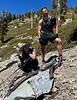Jaime & Jen, with Hellcat wreckage<br /> Off Baldy Bowl Trail<br /> April 18, 2021