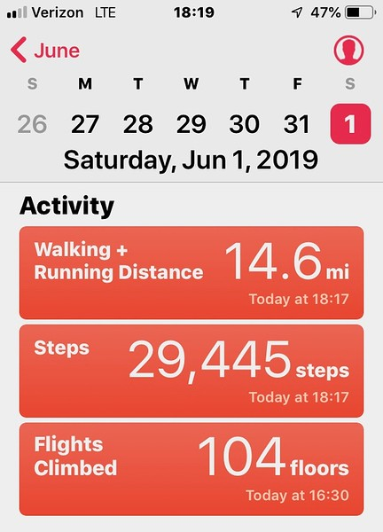 Hiked/jogged equivalent of half marathon in Chino Hills State Park, San Bernardino County, California<br /> June 1, 2019