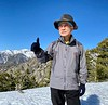 SH Ahn, on the summit of Mt. Timber, with view of Mt. Baldy to the west.<br /> January 14, 2020