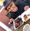 Rick with dinner<br /> Copper Top BBQ<br /> Big Pine, California