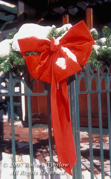 Red Bow With Snow, Palace Grill, Durango, Colorado, USA, North America