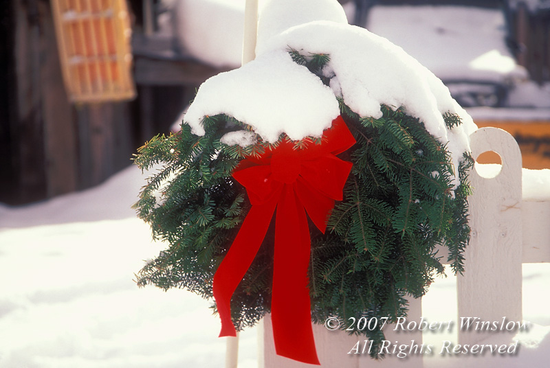 Holiday Wreath on Picket Fence Crested Butte, Colorado, USA, North America