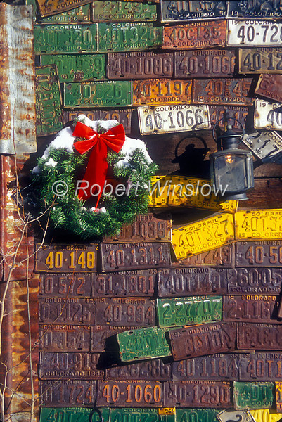 Exterior, Camp 4 Coffe House, Winter, Holiday Wreath, Old License Plates, Crested Butte, Colorado, USA, North America - no release