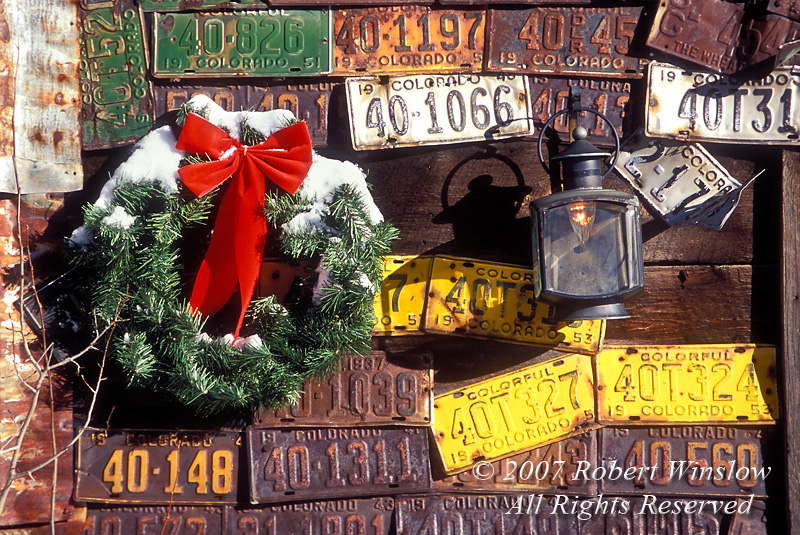 Winter, Holiday Wreath, Old License Plates, Crested Butte, Colorado, USA, North America