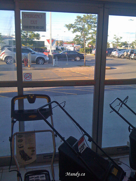Canadian Tire also likes to block the fire exits - with lawn mowers.