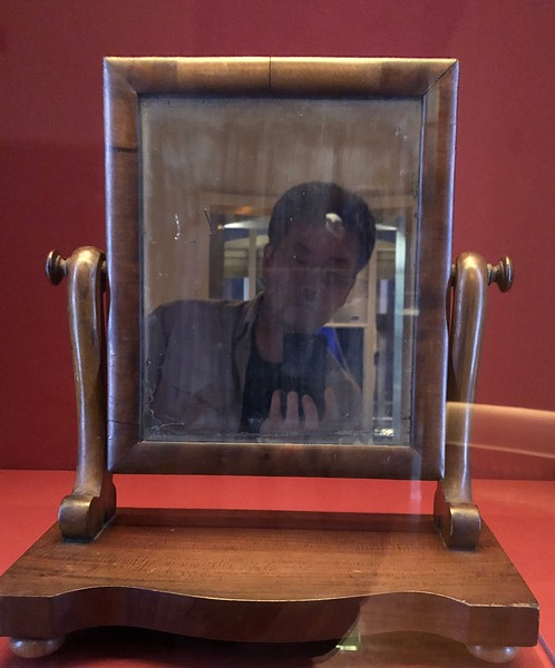 """""""Selfie"""" in the same mirror, used by Abe to shave.  <br /> Lincoln Presidential Library and Museum, Springfield, Illinois."""