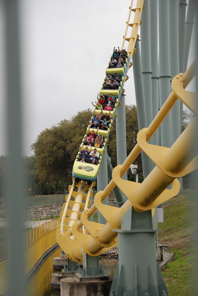 """For this photo, I used a technique called framing. By peering through the safety gates at a theme park I was able to create a blurred vertical frame along the sides of the photo. Because it was a cloudy day I did not have to worry about overexposure, and by simply using the """"sports"""" or """"action"""" mode of the camera, without altering any lighting settings, I was able to capture this photograph. Difficulties for this photo include the fact that I had to be patient, because the roller coaster only ran every couple of minutes, and I did not capture this shot on the first try..."""