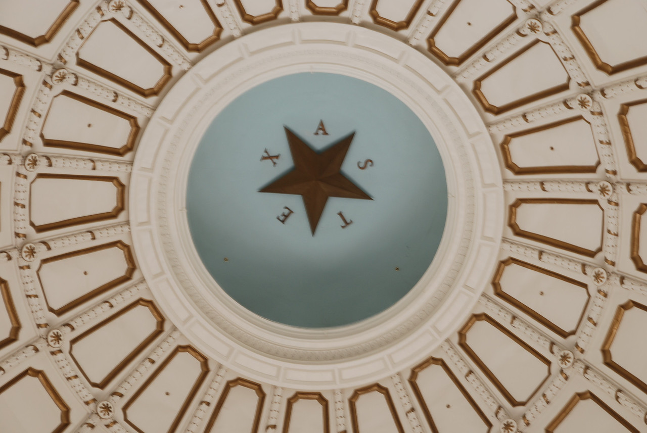 Texas Star.<br /> <br /> Zoomed in on the inside of the capitol building in Austin, Texas.
